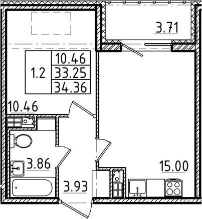 2Е-комнатная, 33.25 м²– 2