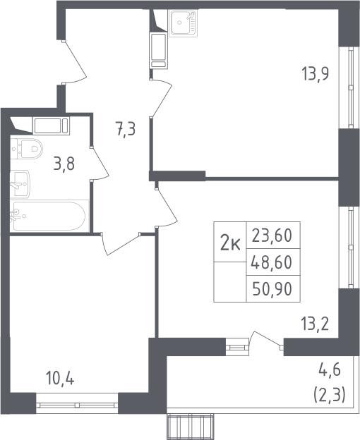 2-комнатная квартира, 50.9 м², 9 этаж – Планировка