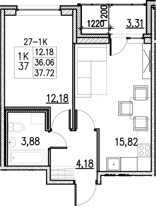 2Е-к.кв, 37.72 м²