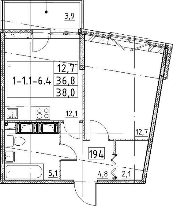 1-к.кв, 38 м², 5 этаж