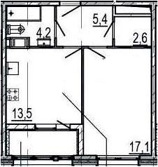 1-к.кв, 44.8 м², от 4 этажа