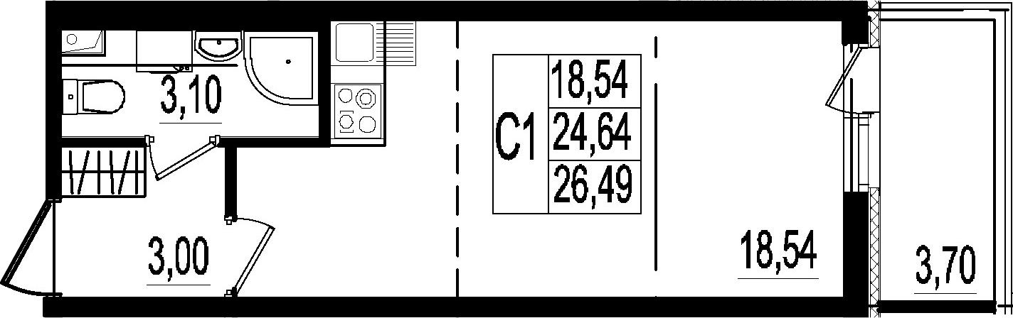 Студия, 24.64 м²– 2