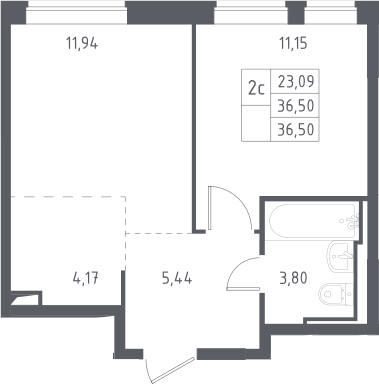 2Е-к.кв, 36.5 м², 12 этаж
