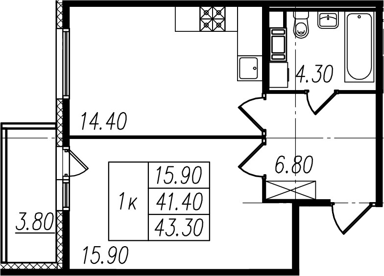1-к.кв, 41.4 м², 4 этаж