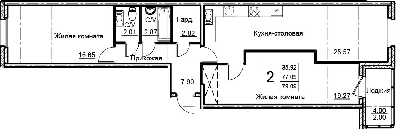 3Е-к.кв, 79.09 м²