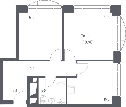 2-к.кв, 49.9 м², 12 этаж