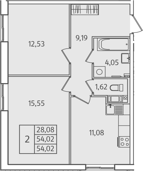 2-к.кв, 54.02 м²