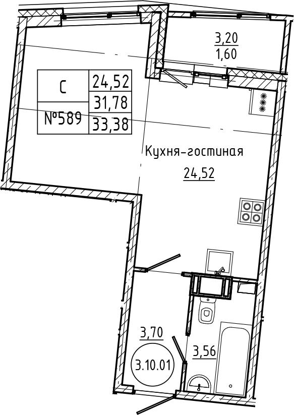Студия, 33.38 м²– 2