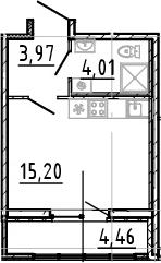 Студия, 23.18 м²– 2