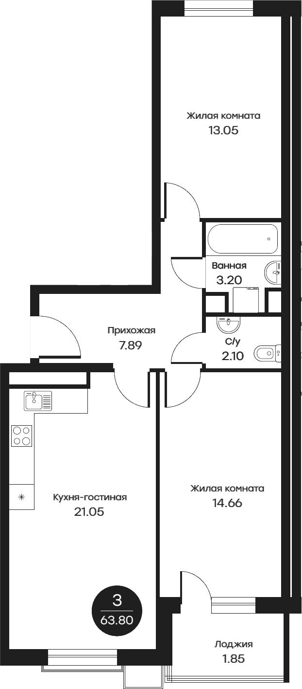 3Е-комнатная, 63.8 м²– 2