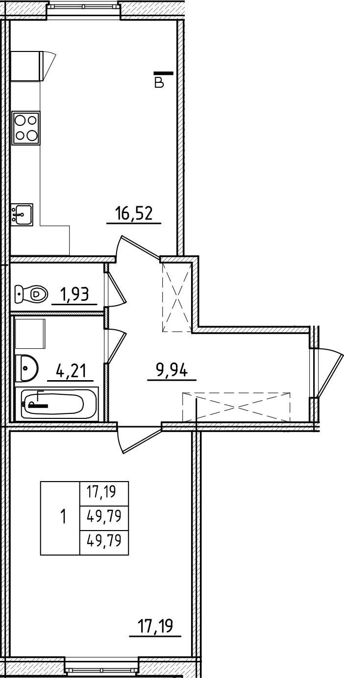 2Е-к.кв, 49.79 м², 1 этаж