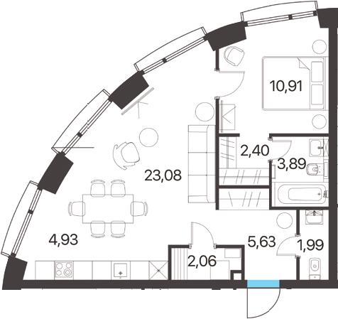 2Е-комнатная, 54.89 м²– 2