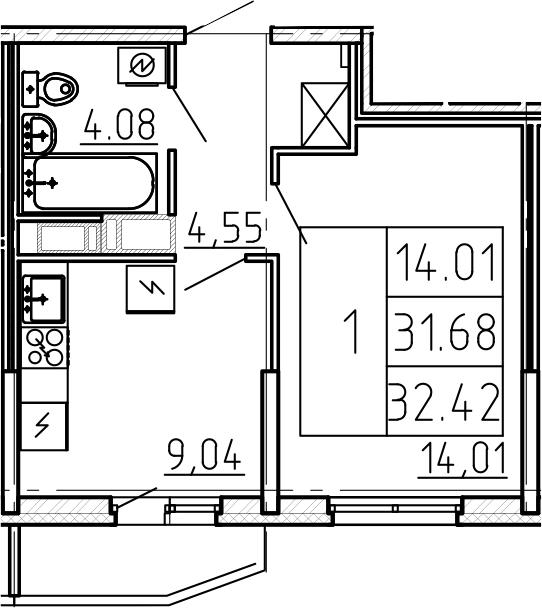 1-к.кв, 34.15 м²