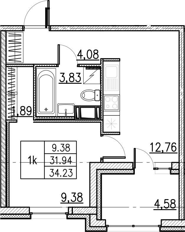 2Е-комнатная, 34.23 м²– 2