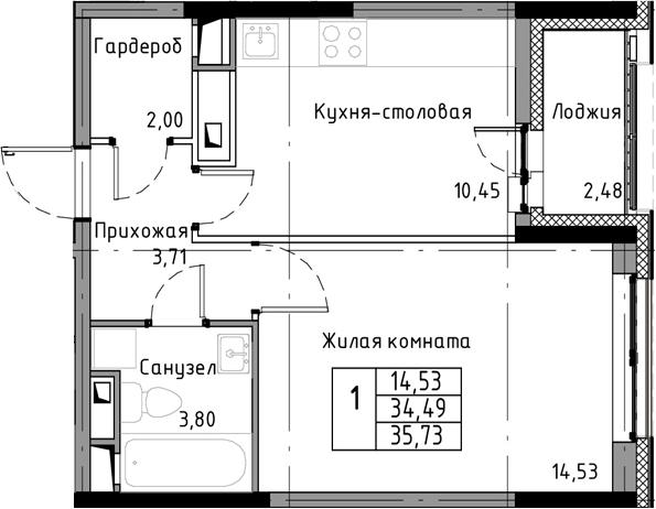 1-к.кв, 35.73 м²