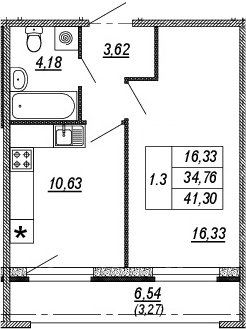 1-к.кв, 34.76 м², от 3 этажа