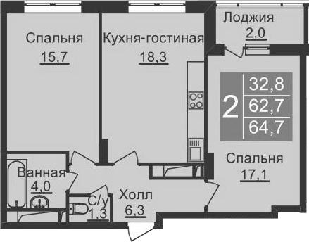 3-к.кв (евро), 66.7 м²
