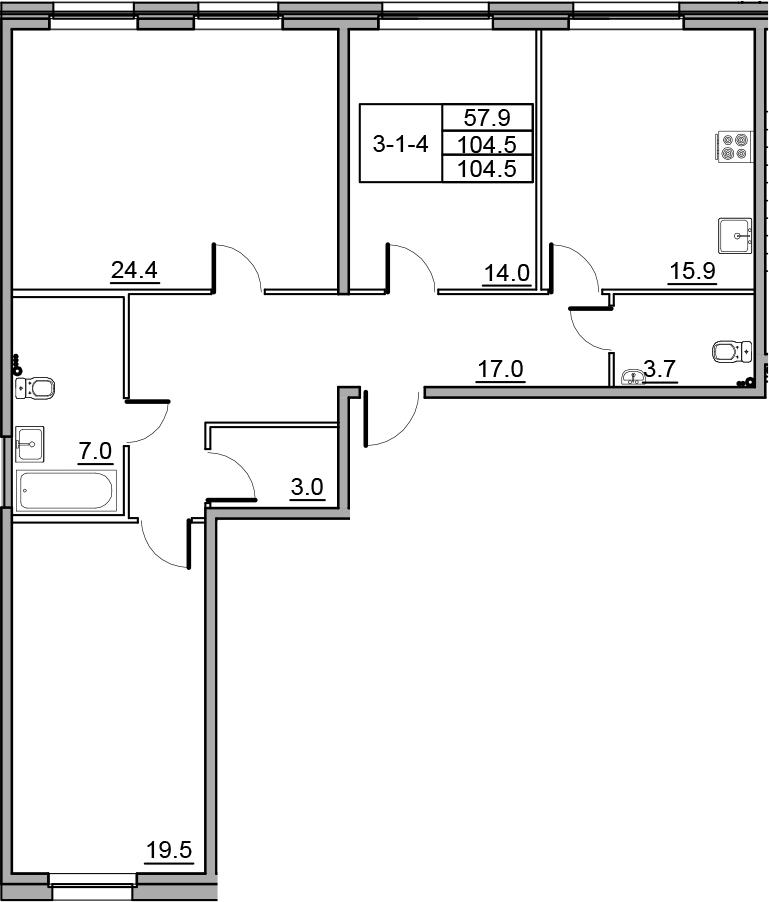 4-к.кв (евро), 104.5 м²