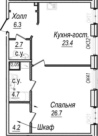 2Е-комнатная, 68 м²– 2