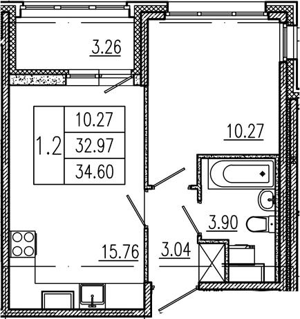 2Е-комнатная, 32.97 м²– 2
