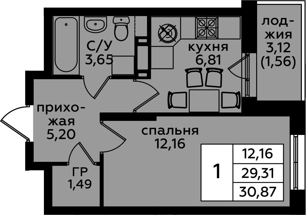 1-комнатная, 30.87 м²– 2