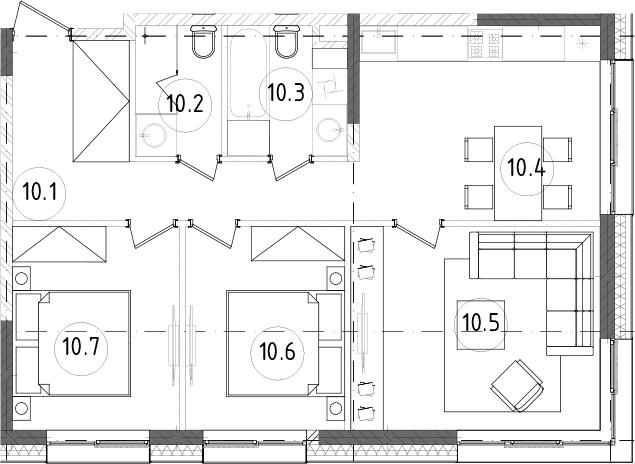 3-к.кв, 64.39 м²