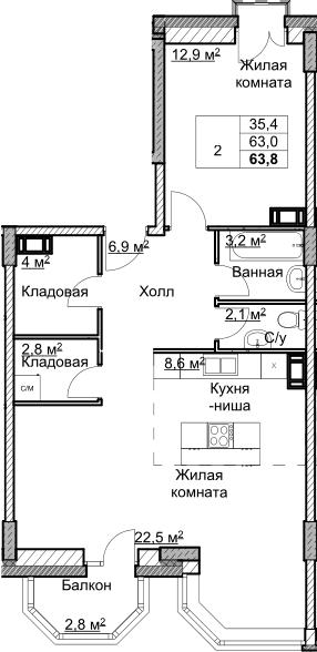 2Е-комнатная, 63.84 м²– 2