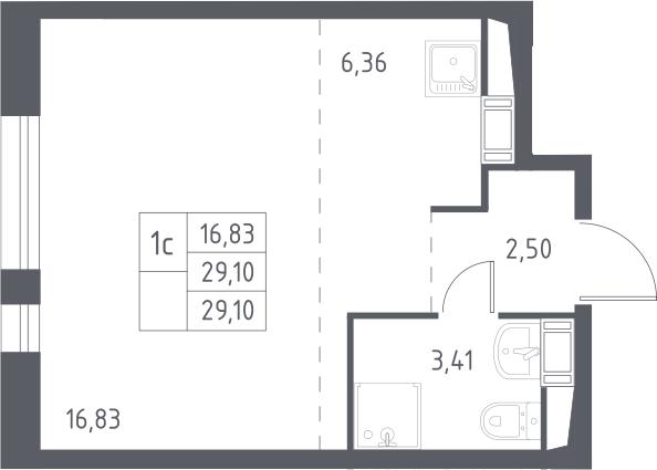 Студия, 29.1 м²– 2