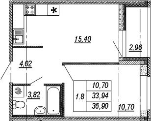 2Е-к.кв, 33.94 м², 1 этаж