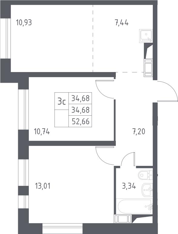 3Е-к.кв, 52.66 м², 9 этаж