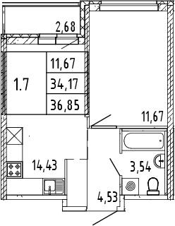 2Е-комнатная квартира, 35.51 м², 3 этаж – Планировка