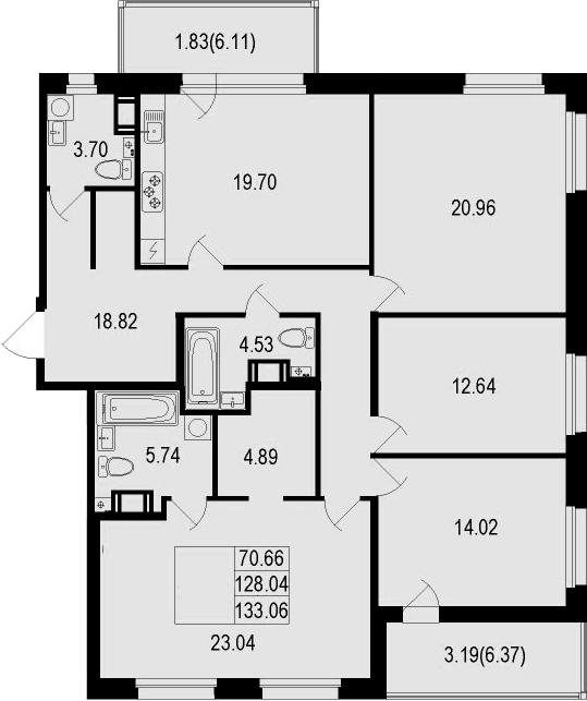 5Е-к.кв, 133.06 м²