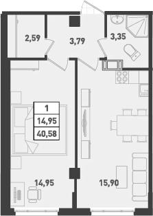 1-к.кв, 40.58 м², от 9 этажа