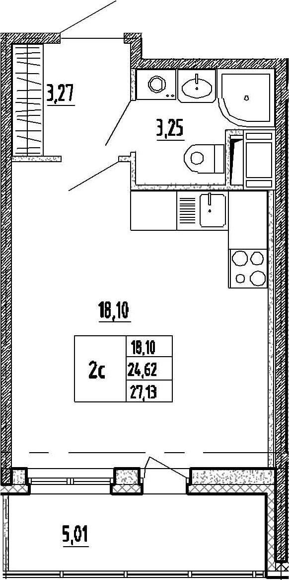 Студия, 24.62 м²– 2