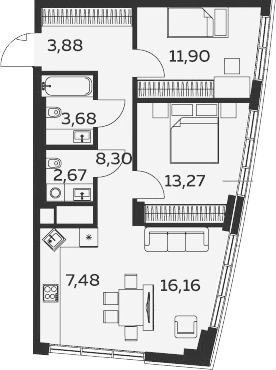 3Е-комнатная, 67.34 м²– 2
