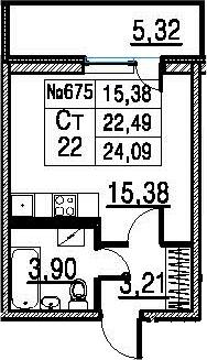 Студия, 22.49 м²