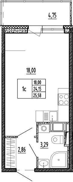 Студия, 28.9 м²