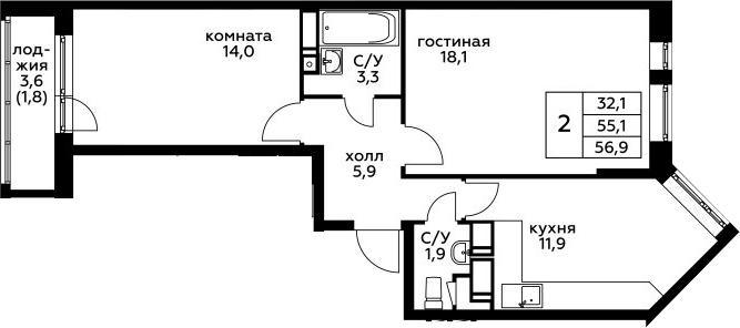 2-к.кв, 56.9 м²