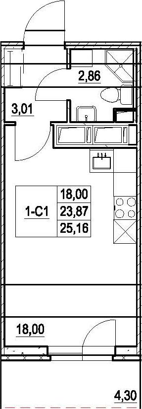 Студия, 28.17 м²