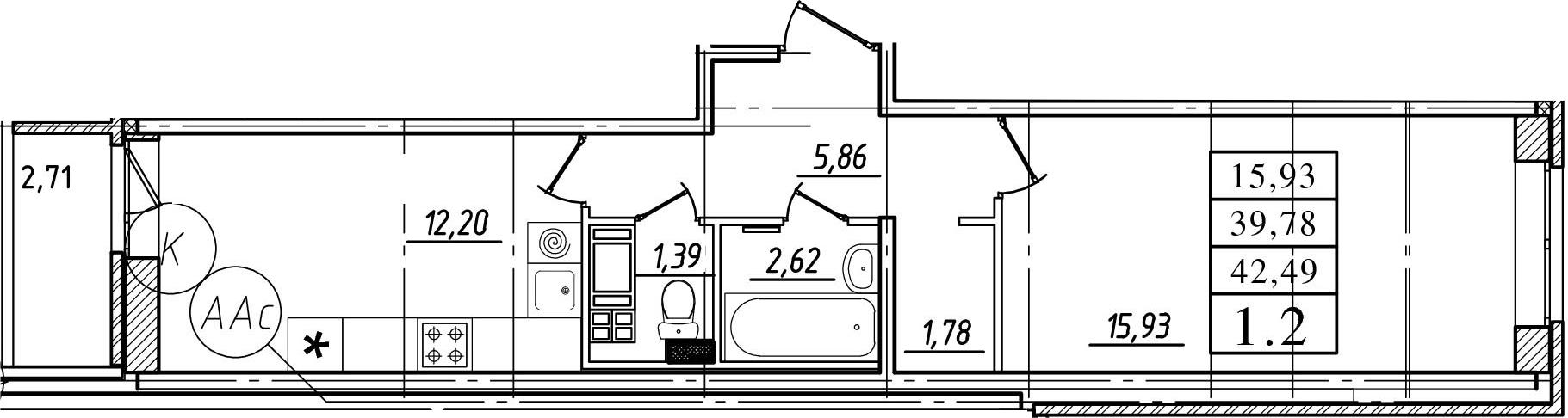 1-к.кв, 39.78 м²