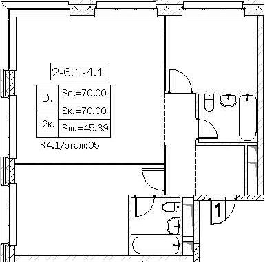 Свободная планировка, 70 м²– 2