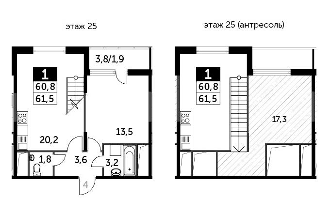 2-к.кв (евро), 63.4 м²