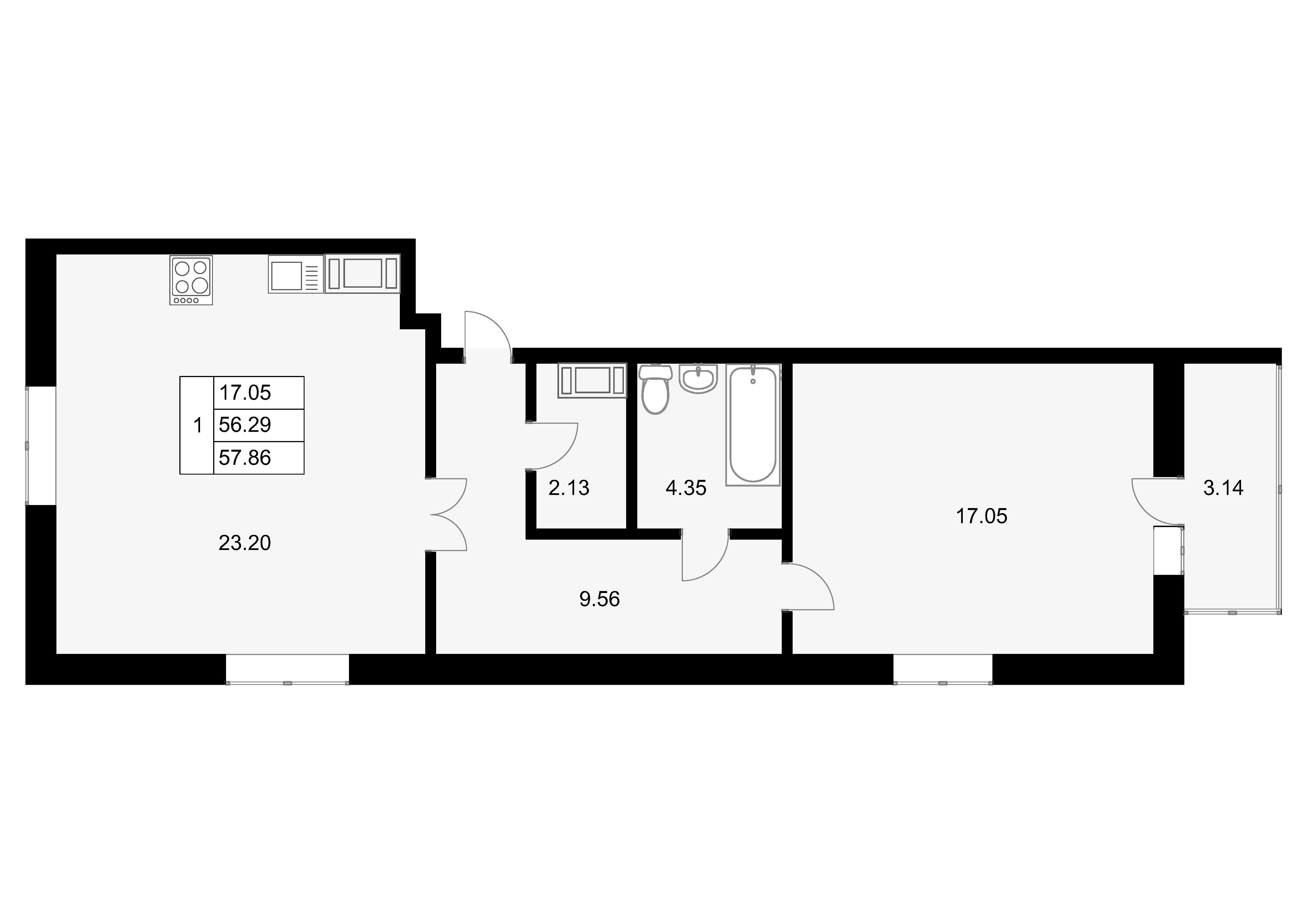 1-к.кв, 59.42 м²