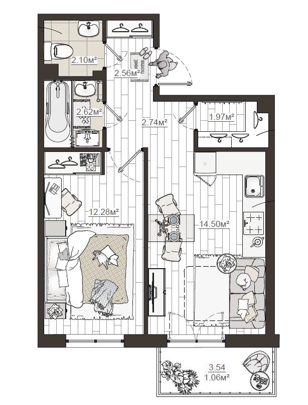 1-комнатная, 39.83 м²– 2