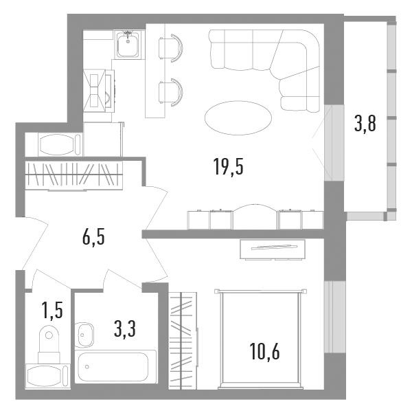 2Е-к.кв, 42.6 м²