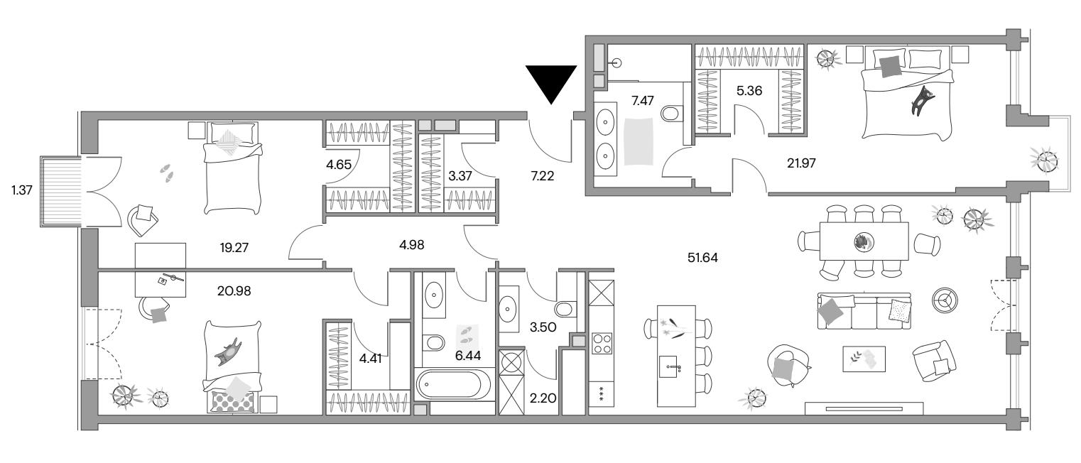 4Е-комнатная квартира, 162.75 м², 14 этаж – Планировка