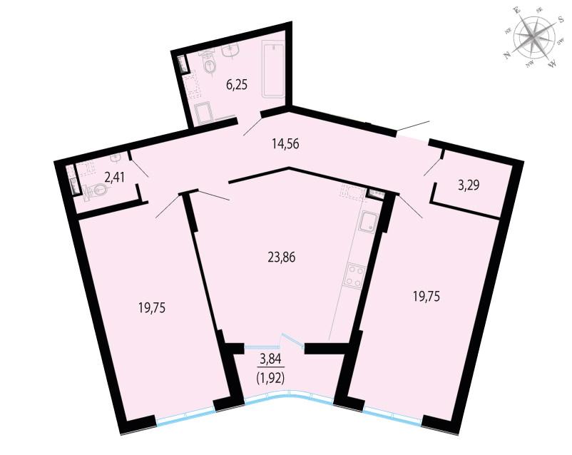 3-к.кв (евро), 93.71 м²