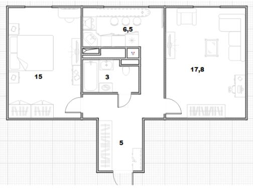 2-к.кв, 47.3 м²