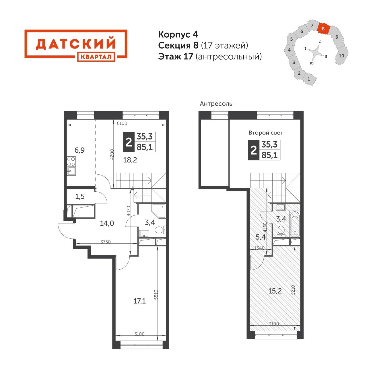 3Е-к.кв, 85.1 м², 17 этаж