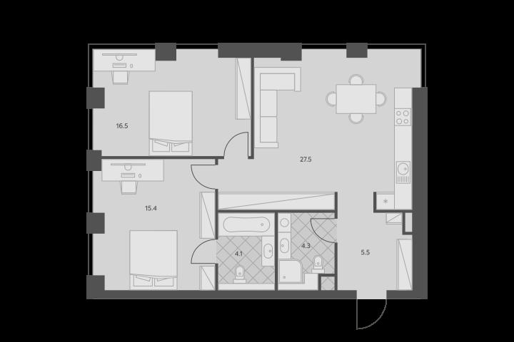 3Е-комнатная, 73.3 м²– 2